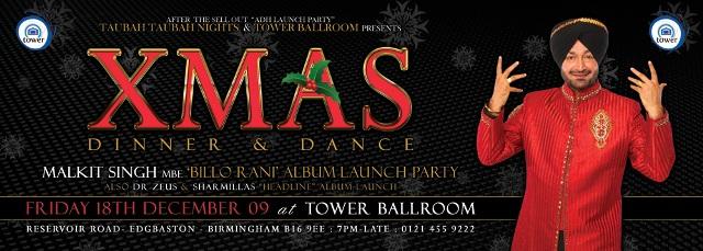 XMAS DINNER & DANCE - MALKIT SINGH MBE 'BILLO RANI' ALBUM LAUNCH PARTY