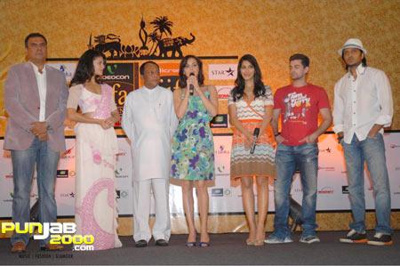Boman Irani, Jacqueline Fernandez, Sri Lankan Minister, Dia Mirza, Sophie Choudhury, Neil Nitin Mukesh and Riteish Deshmukh at the Opening IIFA Press Conference