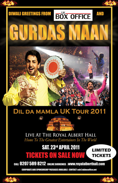 DIWALI SPECIAL GURDAS MAAN TICKETS ON SALE FOR THE ROYAL ALBERT
