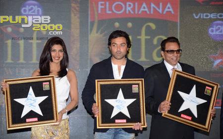 Priyanka Chopra, Bobby Deol and Dharmendra-ji sign Floriana tiles for the IIFA Wall of Fame