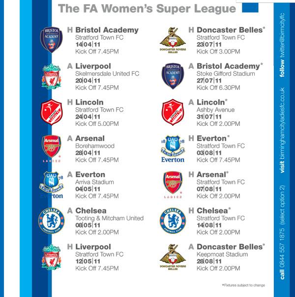 BCFC Womens Fixtures