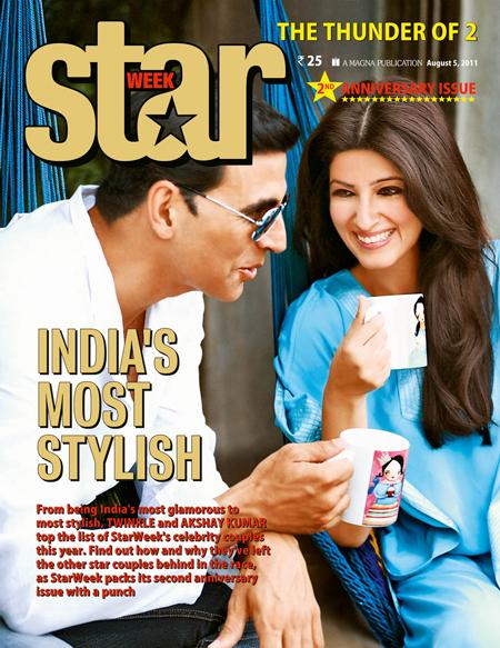 Bollywood Glamour Couple, Akshay Kumar and Twinkle Khanna, awarded title of 'Most Stylish Couple' by Star Week magazine