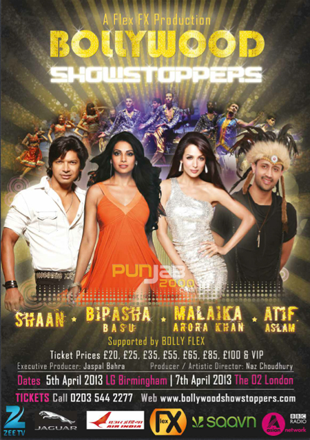 Punjab2000.com have teamed up with Flex FX Productions the promoters of the Bollywood Showstoppers UK Tour to give 2 lucky readers a chance to win a pair of tickets to see Bipasha Basu, Atif Aslam, Shaan, Malika Arora Khan & others in concert!