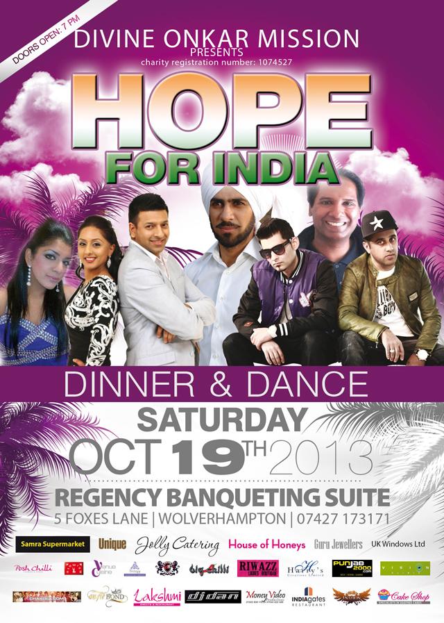 Hope for India' Dinner & Dance Wolverhampton 19th October