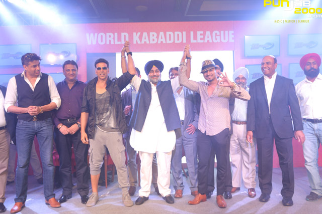 Left-to-right-Rajat-Bedi,-Akshay-Kumar,-Mr-Sukhbir-Singh-Badal,Honey-Singh-at-the-World-Kabaddi-League-franchise-announcement-today
