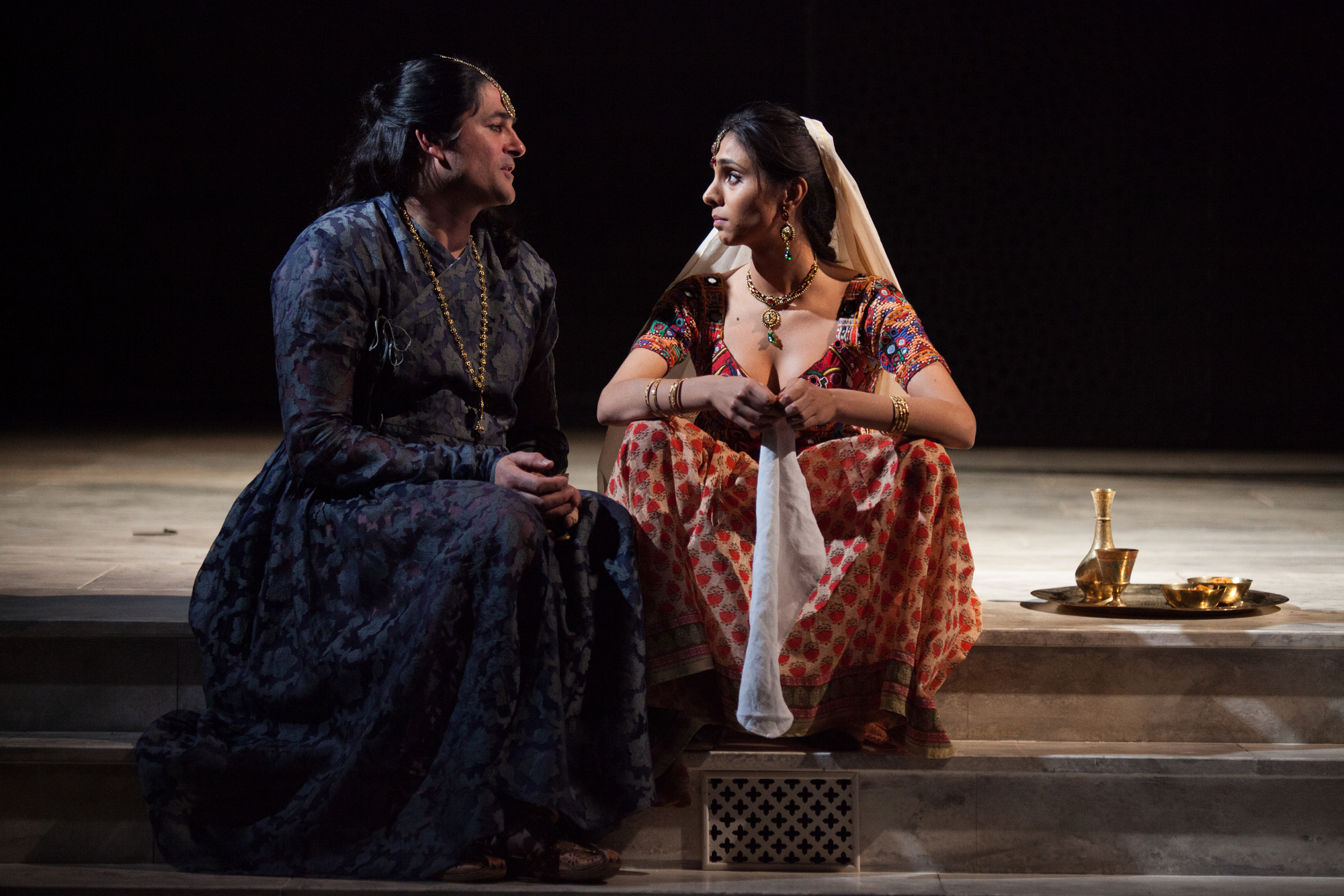 Chook Sibtain as Itbar and Anjli Mohindra as Afia by Ellie Kurttz