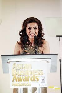 Host Sameena Ali Khan speaking at the Asian Business Awards Midlands