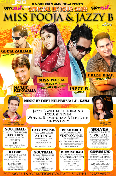 The Official Jazzy B & Miss Pooja UK Tour 2008
