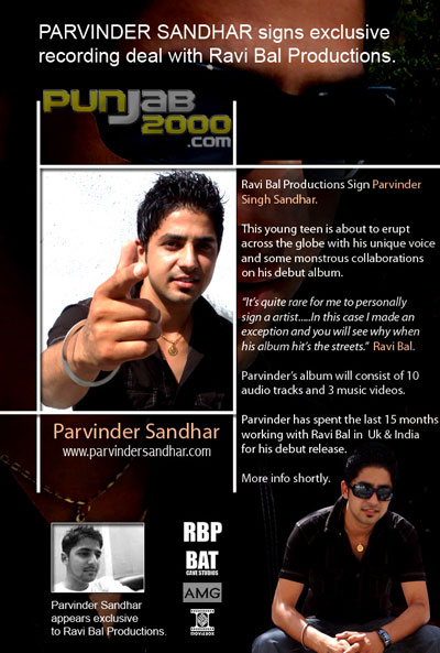 Parvinder Sandhar Signs Exclusive Recording Deal with Ravi Bal Productions.