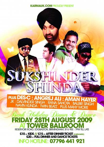 SUKSHINDER SHINDA - Bank Holiday Dinner & Dance