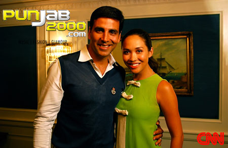 Myleene Klass joins Bollywood Superstar, Akshay Kumar, for friendly banter behind the scenes of his latest film Housefull!