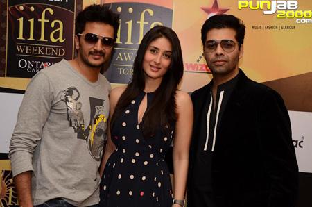 Riteish, Kareena and Karan smile for the cameras