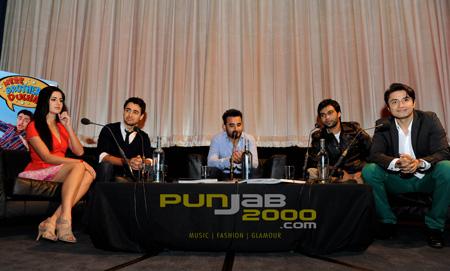 Katrina Kaif, Imran Khan, Ameet Chana, Ali Zafar, director Ali Abbas Zafar and Ali Zafar. Photographer Sohail Anjum