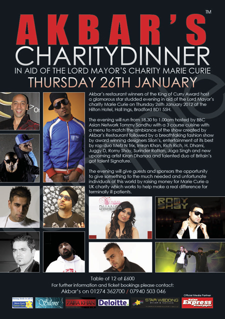 AKBAR'S CHARITY DINNER IN AID OF MARIE CURIE THURSDAY 26TH JANUARY 2012 (BRADFORD)