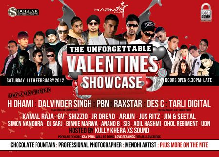 The UNFORGETTABLE VALENTINE'S SHOWCASE 20 plus ARTISTS SAT 11th FEB