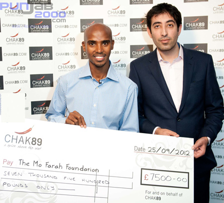 Kaser Mehmood with Olympic champion Mo Farah
