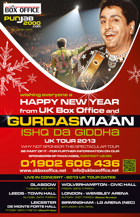 Happy New Year from Uk Box Office, Gurdas Maan & Punjab2000.com
