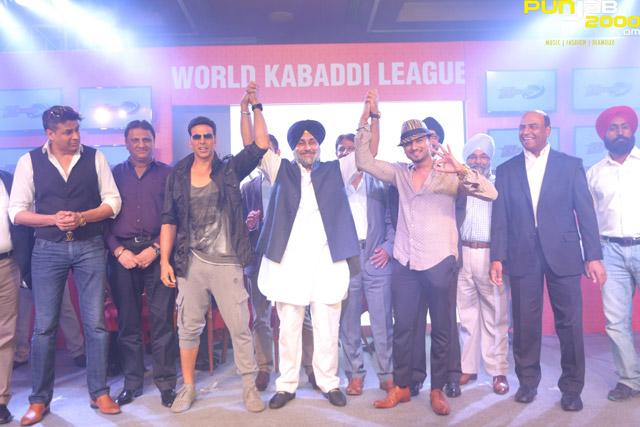 Left-to-right-Rajat-Bedi,-Akshay-Kumar,-Mr-Sukhbir-Singh-Badal,Honey-Singh-at-the-World-Kabaddi-League-franchise-announcement-today