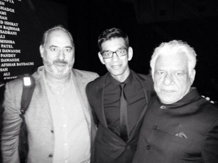Ayub Khan Din, Amit Shah & Om Puri - Son with his 'two dads'. Photo by Zareen Walker