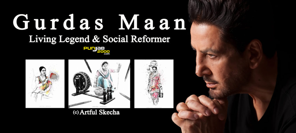 Gurdas Maan in a thoughtful pose with artwork by @ArtfulSkecha