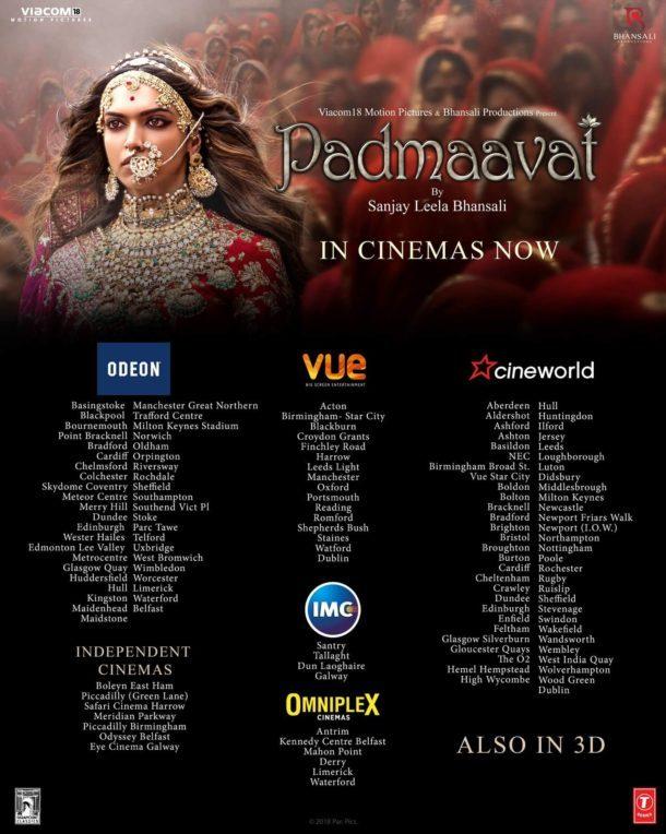 Padmaavat UK Cinema Listings