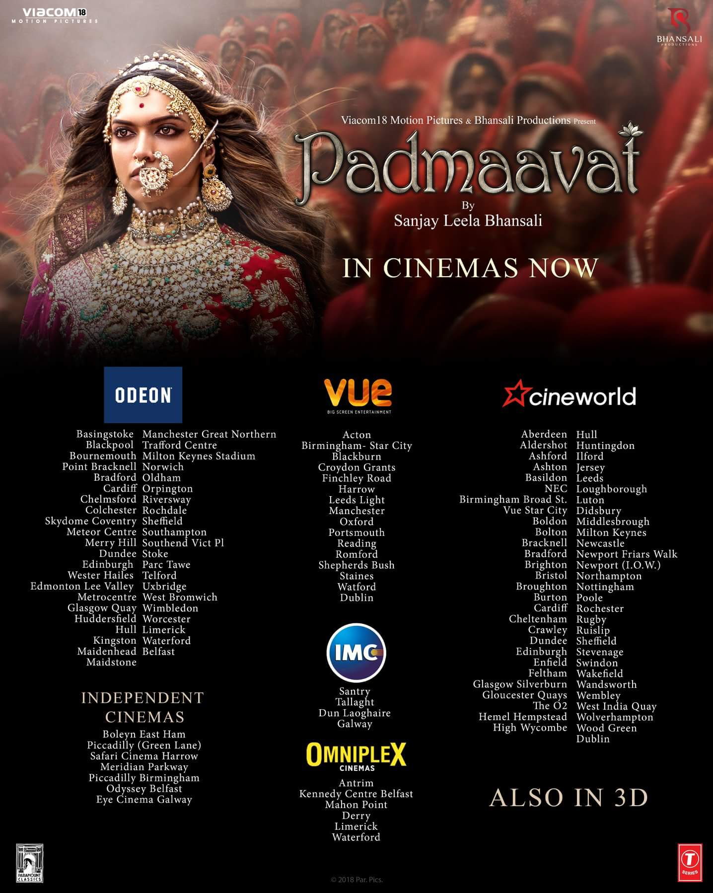 Padmaavat UK Cinema Listings